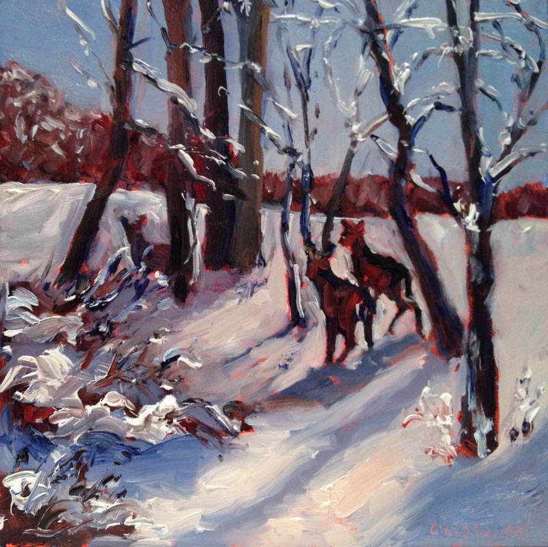 """Whitetails, Day 74"" original fine art by Claudia L Brookes"