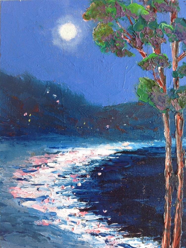"""Night at the Beach"" original fine art by Rose Brenner"