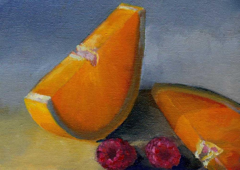 """slices of orange and raspberry"" original fine art by Leo DeBak"