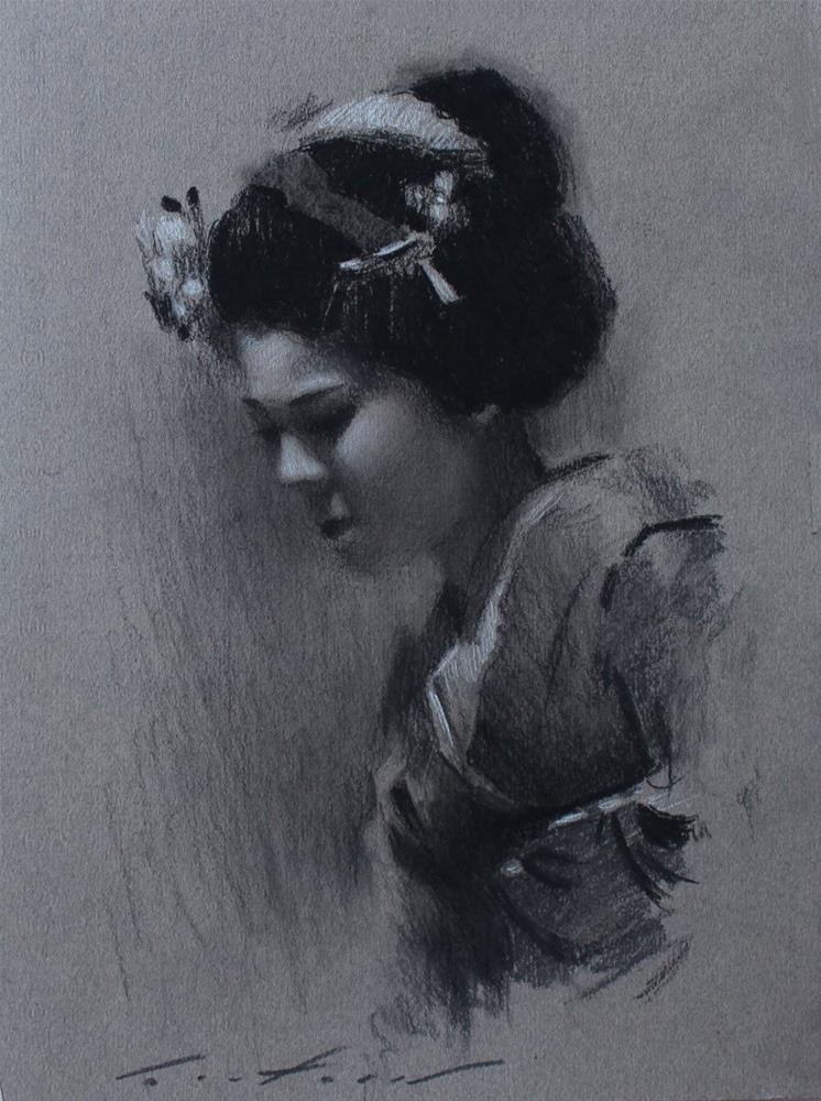 """Maiko Satohana Charcoal Study"" original fine art by Phil Couture"