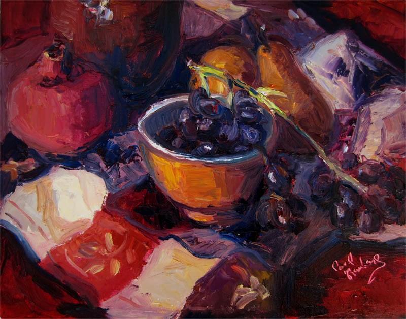 """Grapes, Pears, Pomegranate"" original fine art by Carol Steinberg"