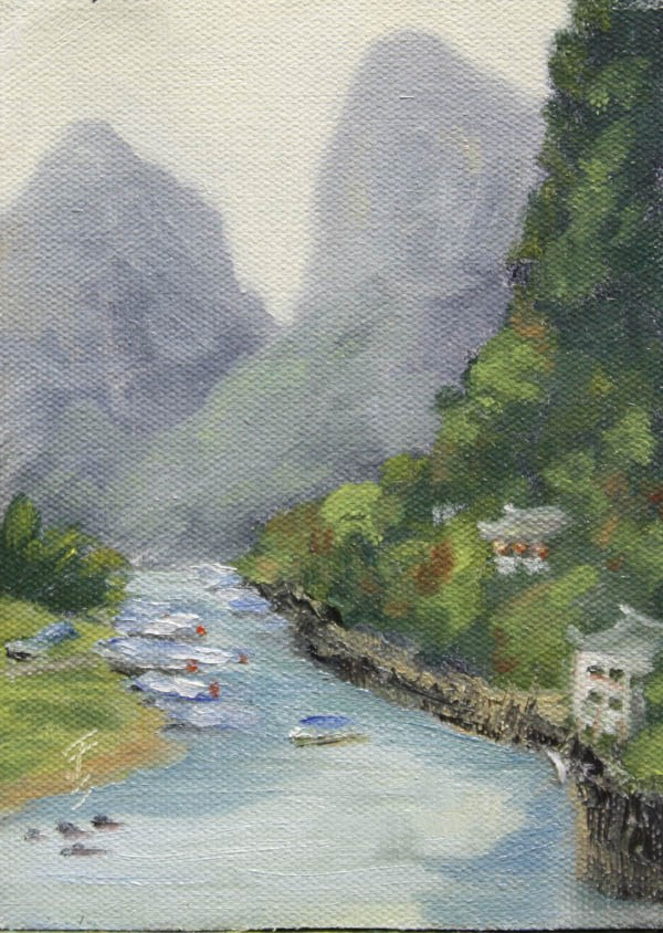 """Yangshuo River View"" original fine art by Jane Frederick"