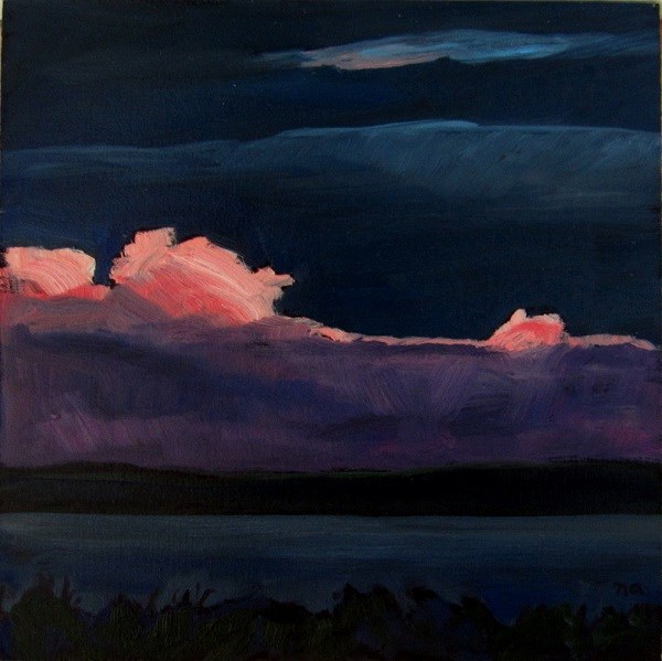 """Pink Clouds, Georgian Bay"" original fine art by Nicki Ault"