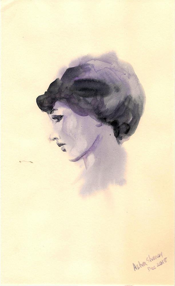 """""""Pensive woman"""" original fine art by Asha Shenoy S"""