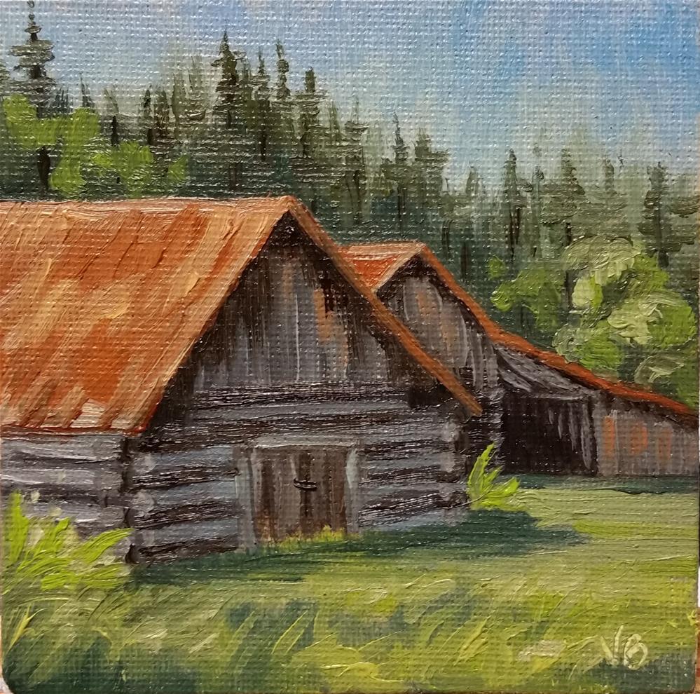 """Montana Barn-mini painting"" original fine art by Veronica Brown"