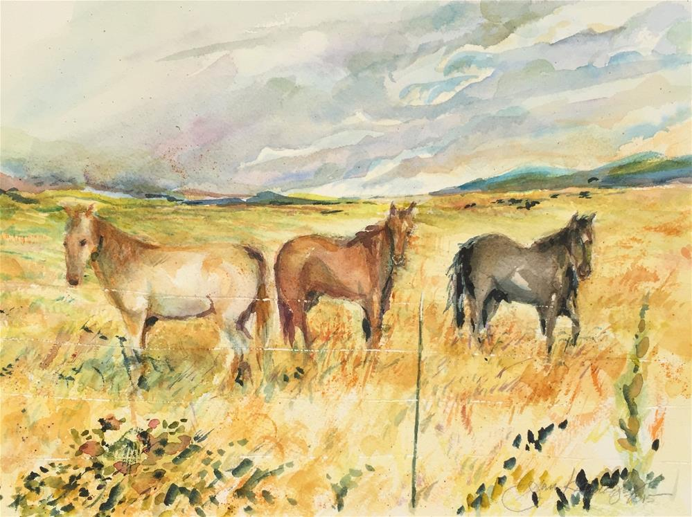 """Three Horses"" original fine art by Jean Krueger"