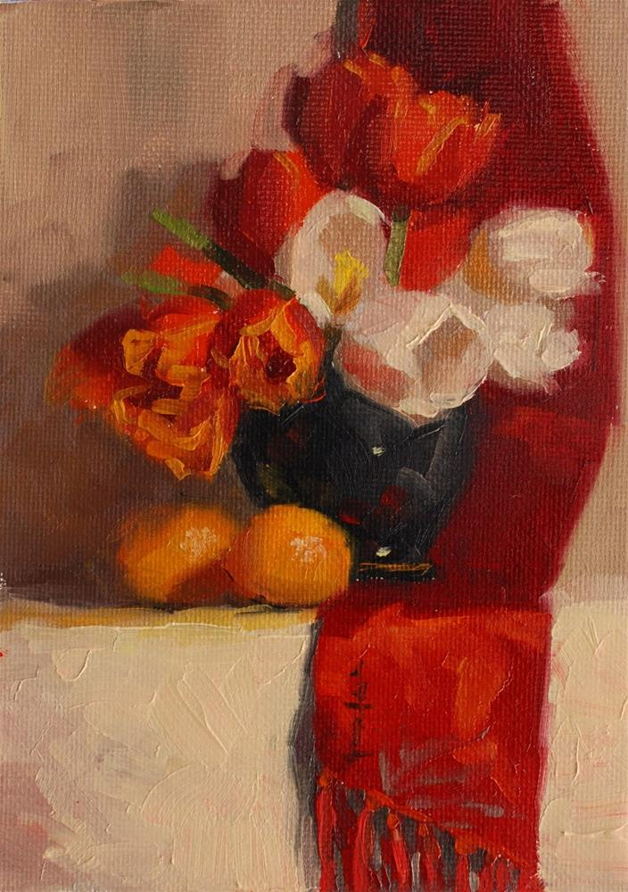 """No. 594 Tulips with Red Scarf"" original fine art by Susan McManamen"