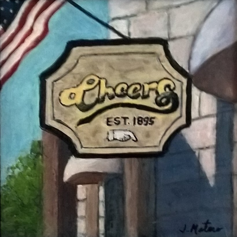 """Cheers Bar Sign"" original fine art by Joan Matero"
