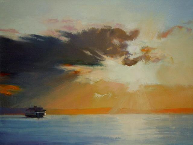 """""""Sunset over Elliot Bay  Washington state ferries, marine landscape"""" original fine art by Robin Weiss"""
