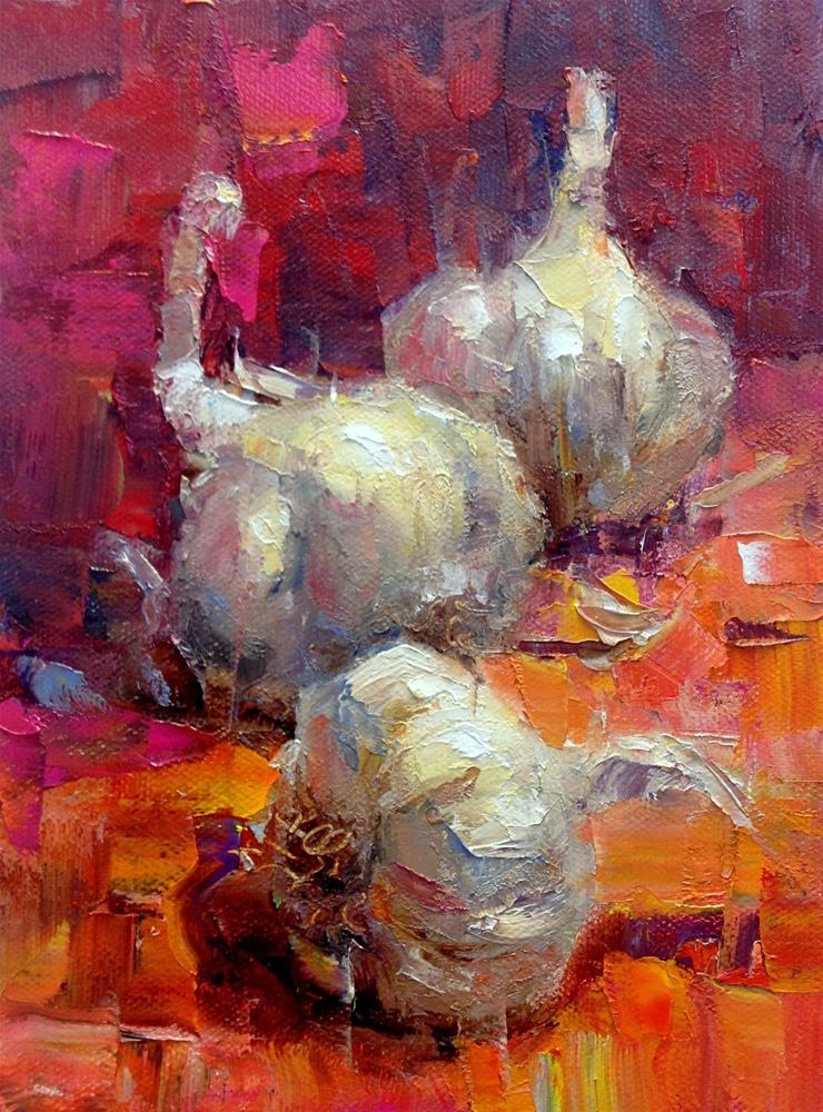 """Garlic Trio"" original fine art by Julie Ford Oliver"