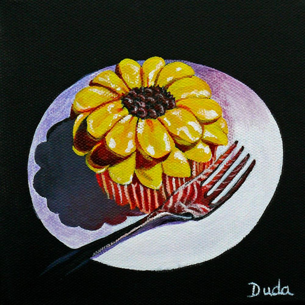 """Sunflower Cupcake"" original fine art by Susan Duda"