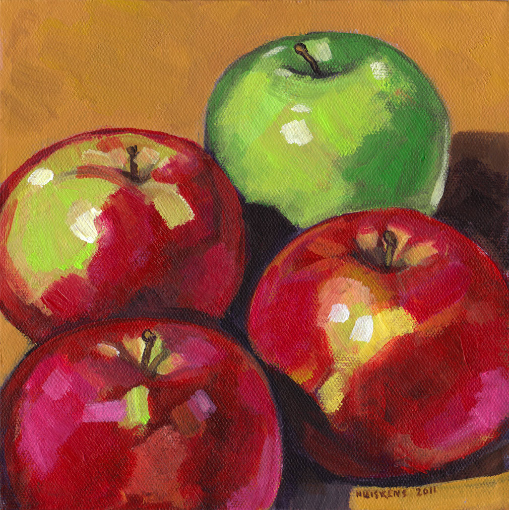 """Green And Red Apples No. 5"" original fine art by Randal Huiskens"