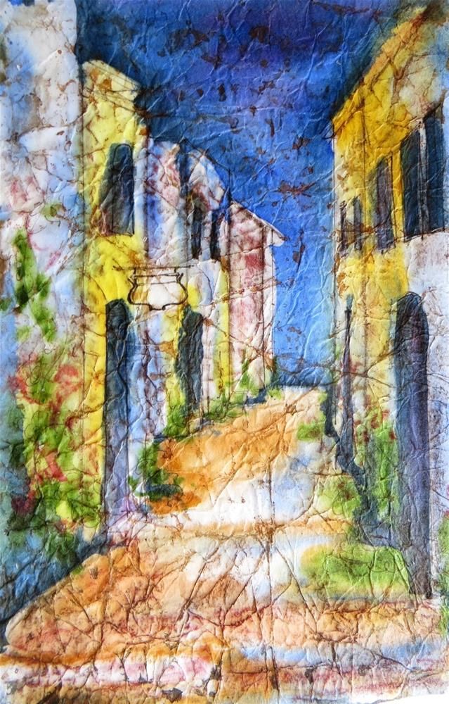 """French Street in Batik"" original fine art by Tammie Dickerson"