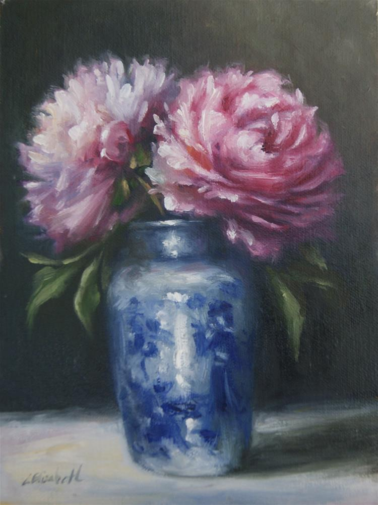 """Peonies with Blue and White Vase"" original fine art by Carolina Elizabeth"