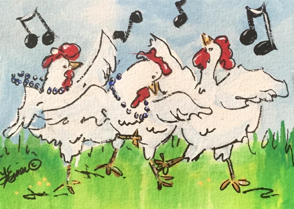 """""""Chicken Dance"""" original fine art by Terri Einer"""