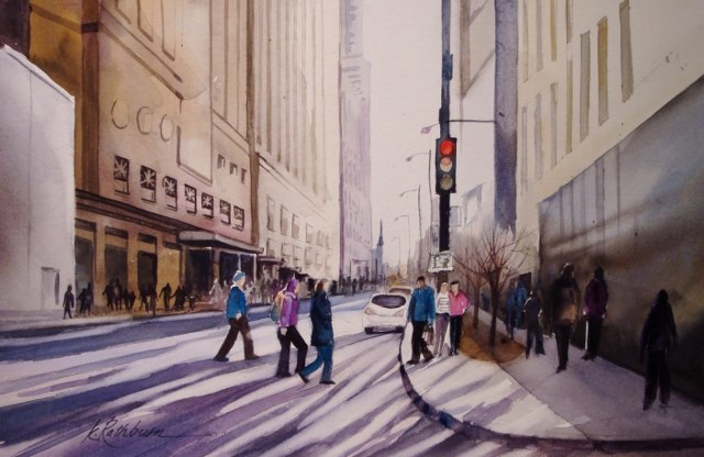 """Stop! People Crossing - Chicago"" original fine art by Kathy Los-Rathburn"