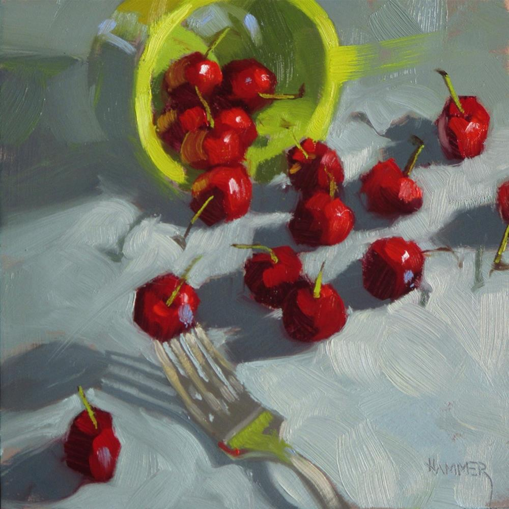 """16 Cherries and a fork 6 x 6 oil"" original fine art by Claudia Hammer"
