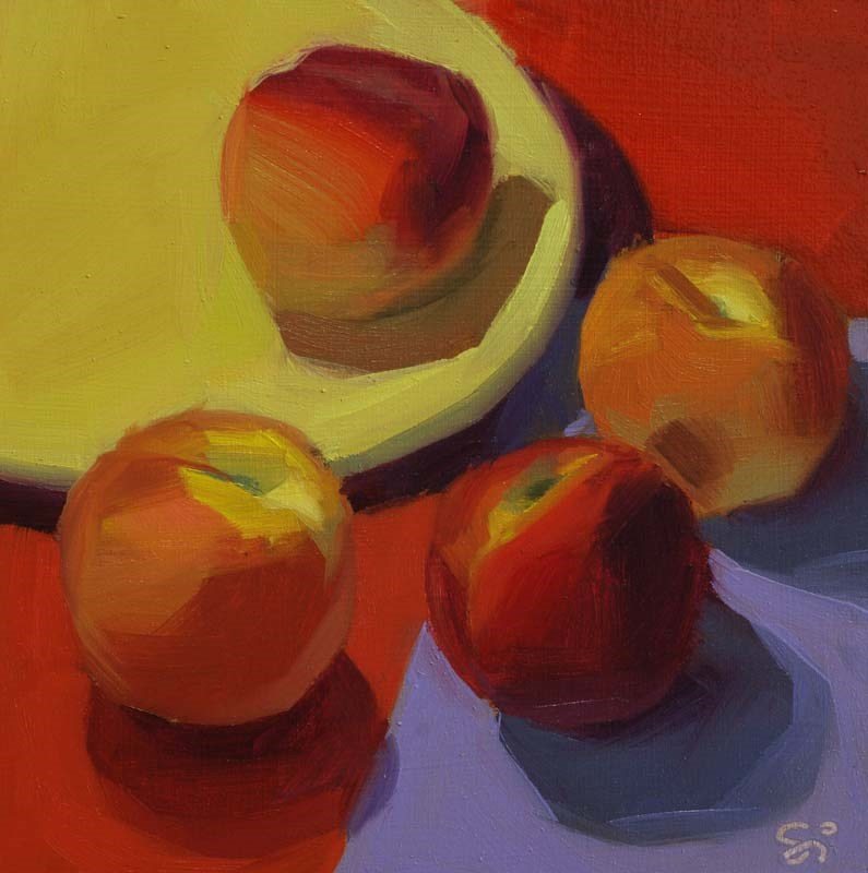"""Meeting on red"" original fine art by Istvan Schaller"