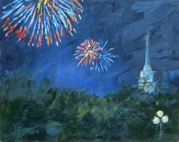 """Lewisburg 4th of July"" original fine art by Lina Ferrara"