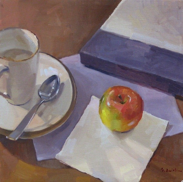 """An Apple for Tea still life fruit coffee tea teacup mug daily painting"" original fine art by Sarah Sedwick"