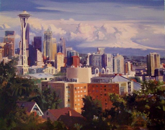"""View from Kerry Hill Park  Seattle city skyline"" original fine art by Robin Weiss"