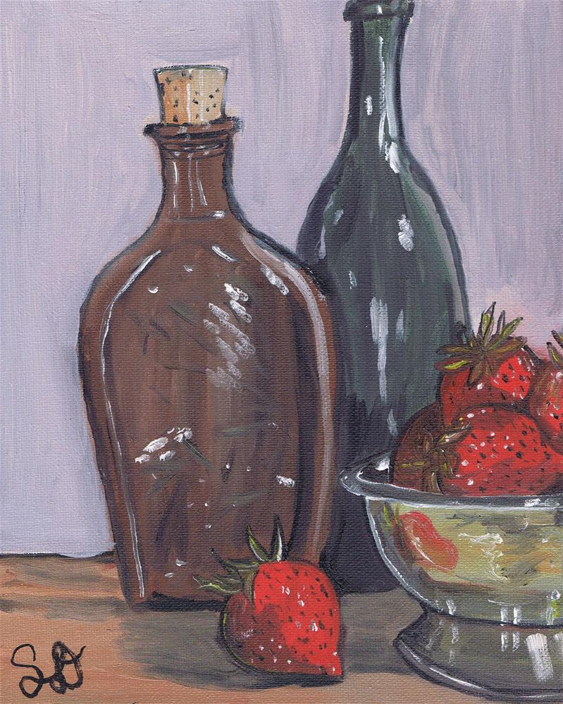 """Red Strawberries with Colored Glass bottles"" original fine art by Samara Doumnande"
