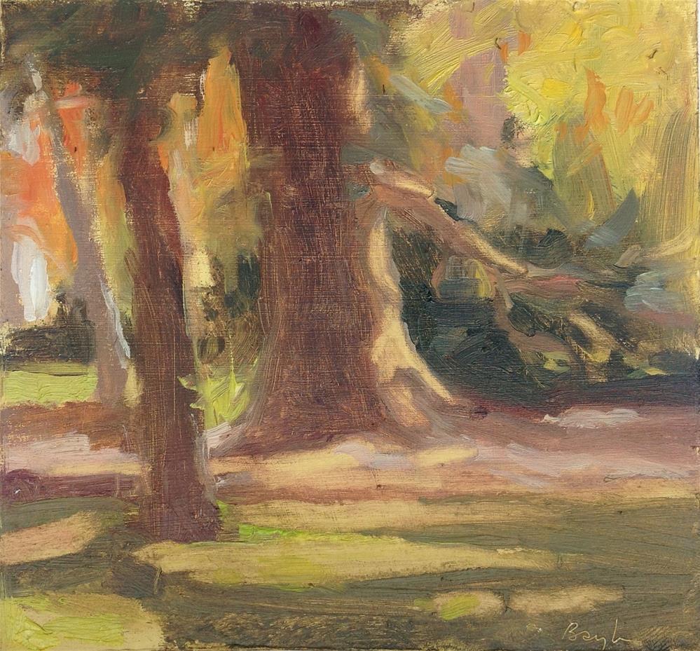 """Plein air in the parc"" original fine art by Christine Bayle"
