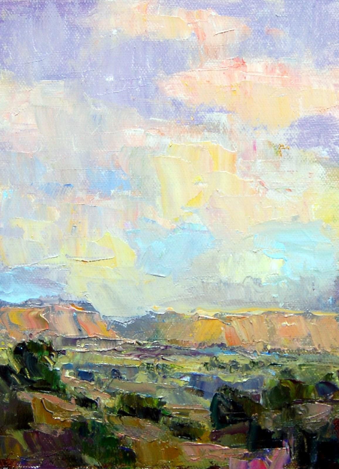 """""""Clouds over the Desert."""" original fine art by Julie Ford Oliver"""