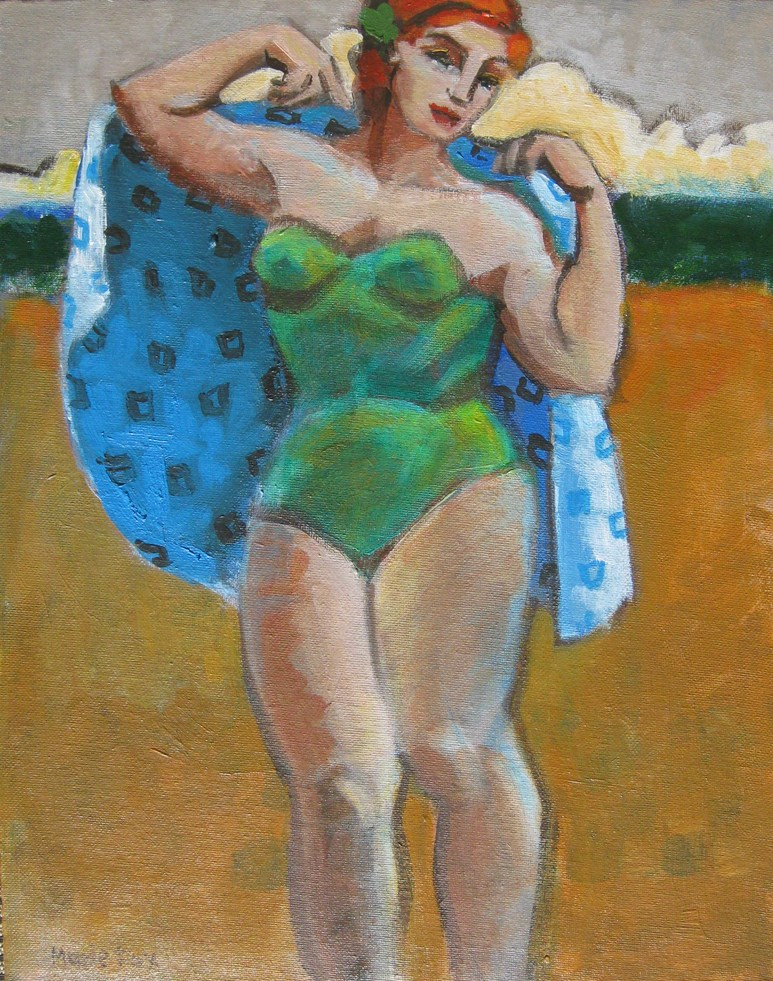 """Figurative painting of woman at beach, ocean, contemporary figure painter, female figuration"" original fine art by Marie Fox"