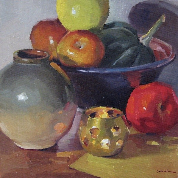 """By Candlelight art oil painting still life daily painting fruit"" original fine art by Sarah Sedwick"