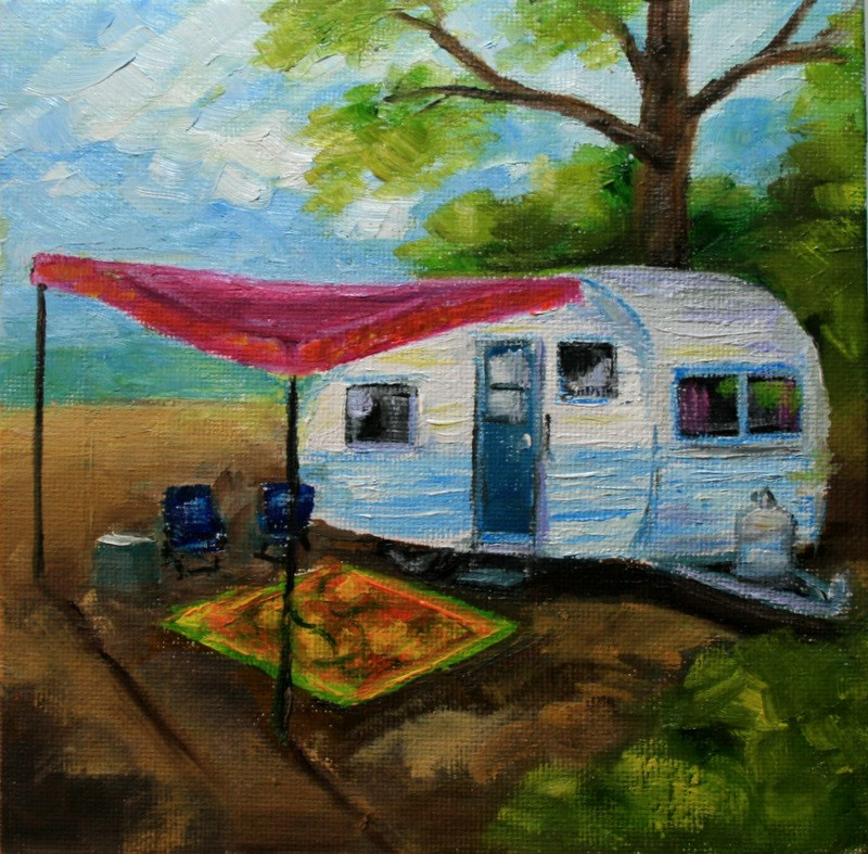 """Vintage Camping"" original fine art by Jean Nelson"