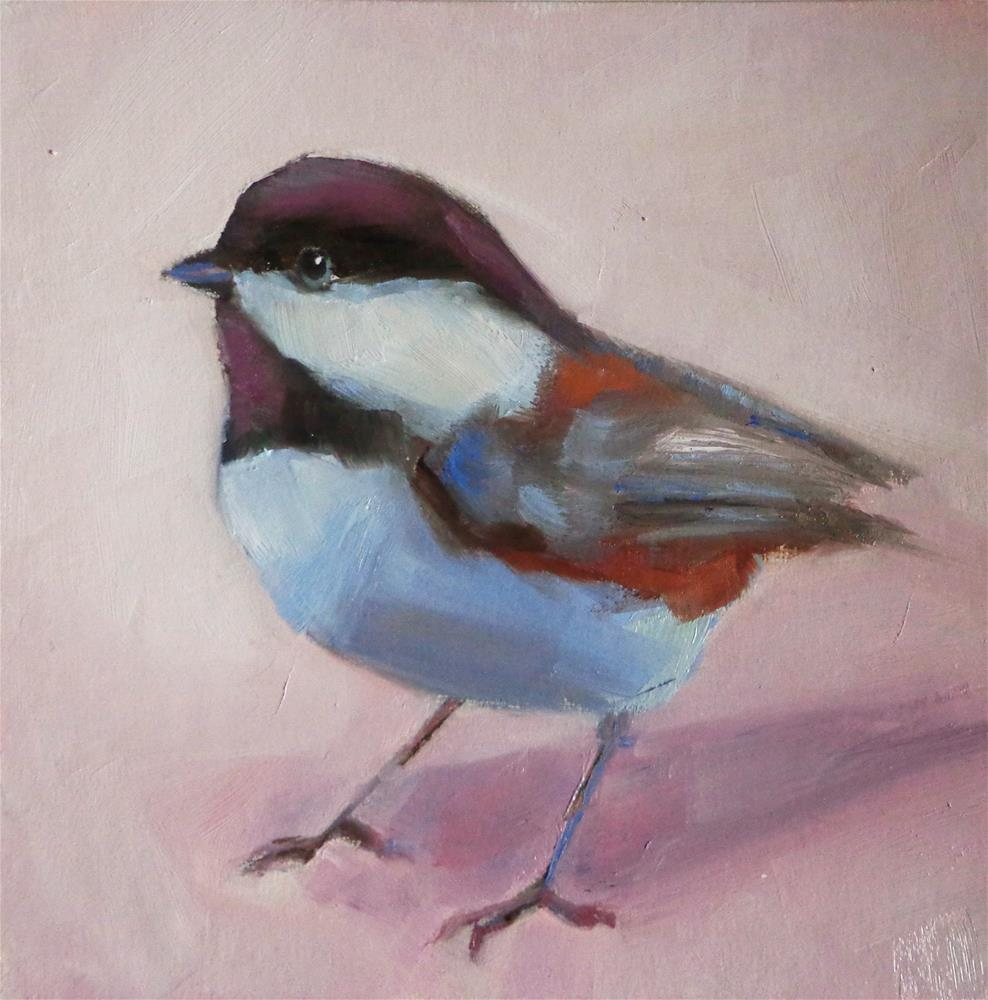 """Black-capped chickadee"" original fine art by Maria Z."