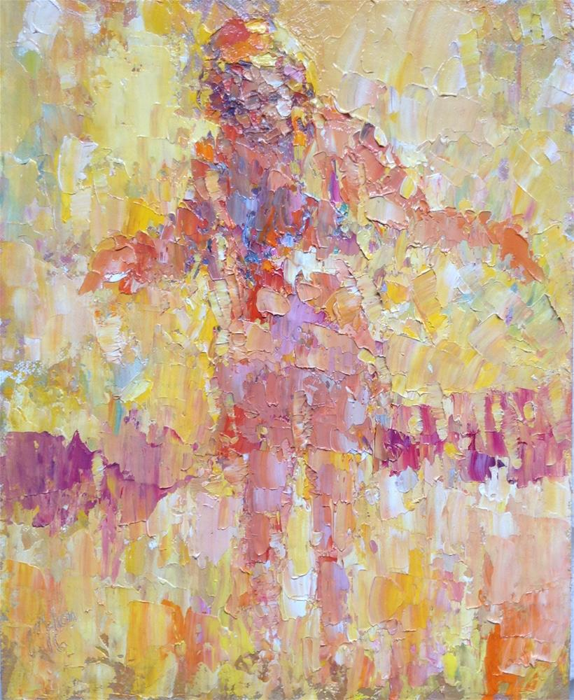 """Jumping girl"" original fine art by Joseph Mahon"