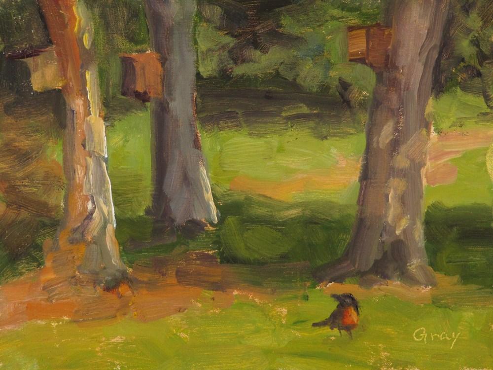 """Robin & Bird Houses"" original fine art by Naomi Gray"
