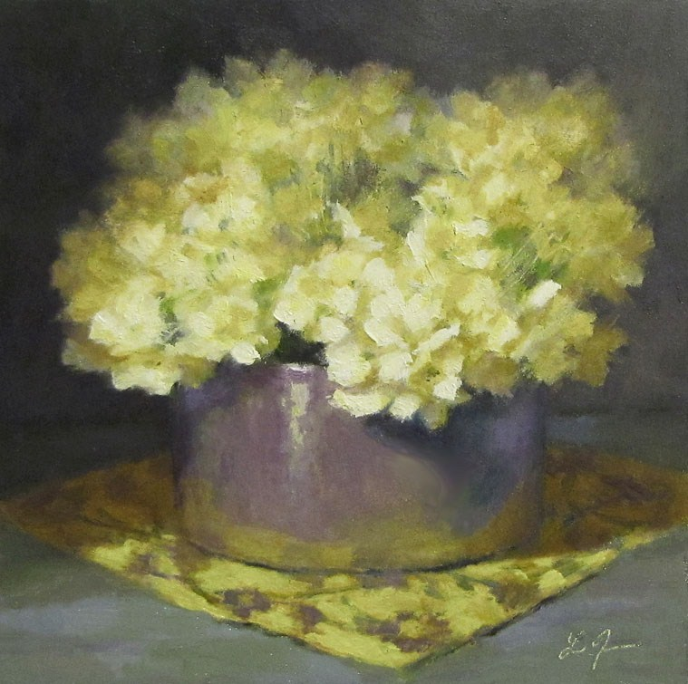 """Creamy Hydrangeas"" original fine art by Linda Jacobus"