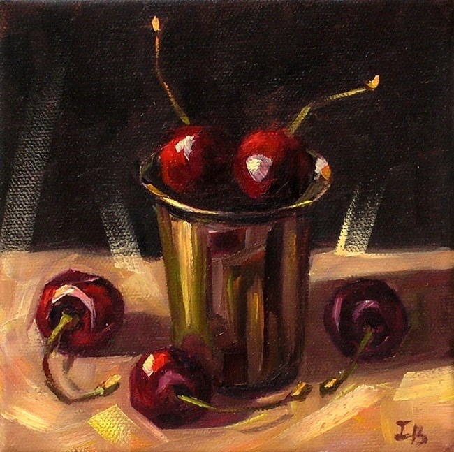 """Cherries"" original fine art by Irina Beskina"