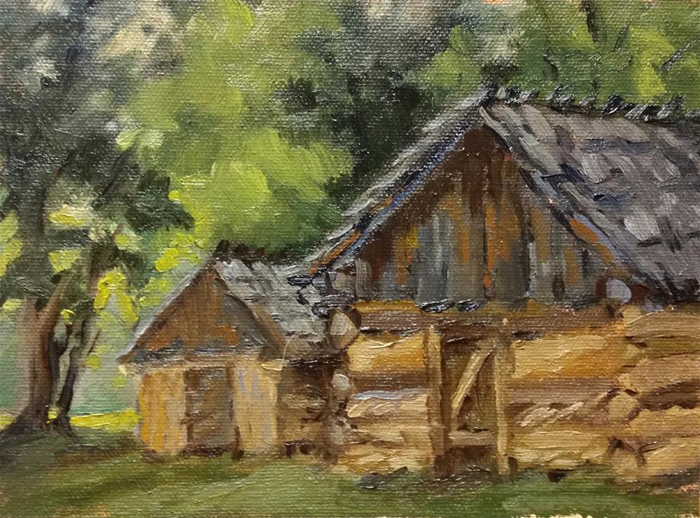 """Sod Cellars at Thornhill--en plein air"" original fine art by Veronica Brown"