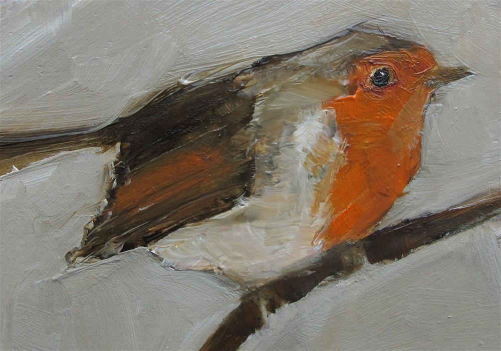 """ACEO ROBIN BIRD Original Art Colette Davis Art Painting OIL"" original fine art by Colette Davis"