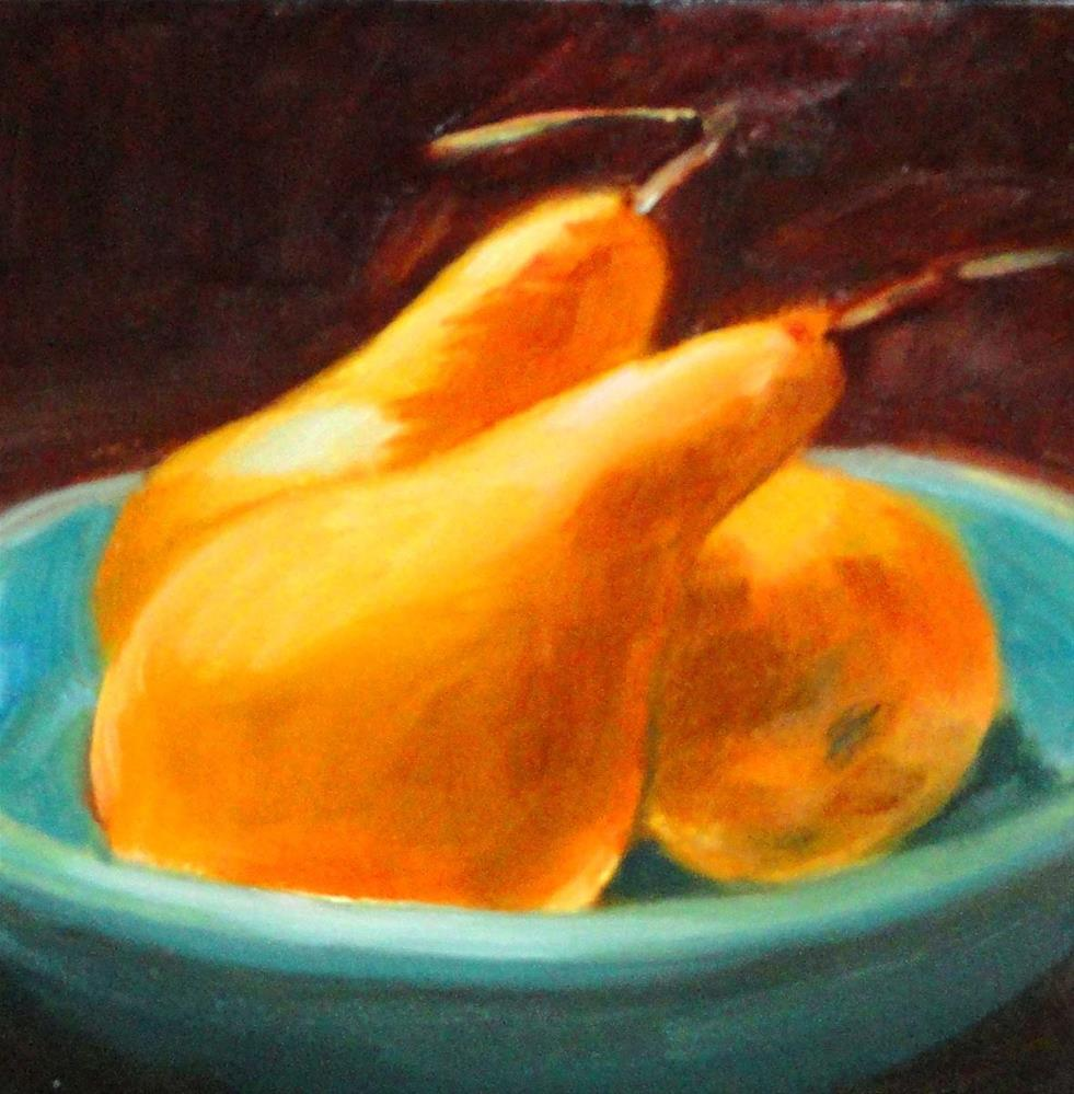 """Golden Pears In A Blue Bowl"" original fine art by Cietha Wilson"