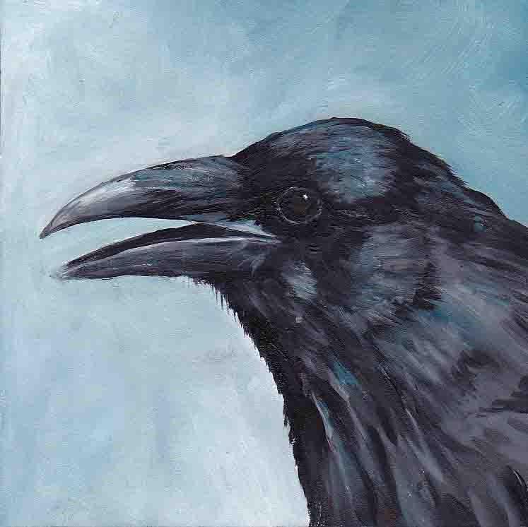 """Crow Head"" original fine art by Charlotte Yealey"