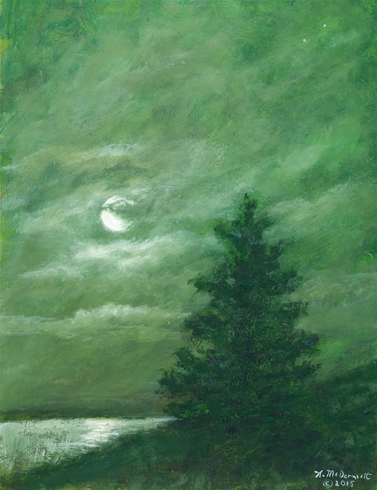 """NOCTURNE IN GREEN (C) 2016 by K. McDermott"" original fine art by Kathleen McDermott"