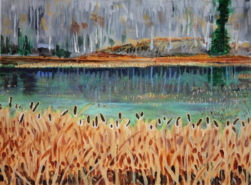 """Bullrushes In Late Autumn"" original fine art by Terri-Anne Barge"