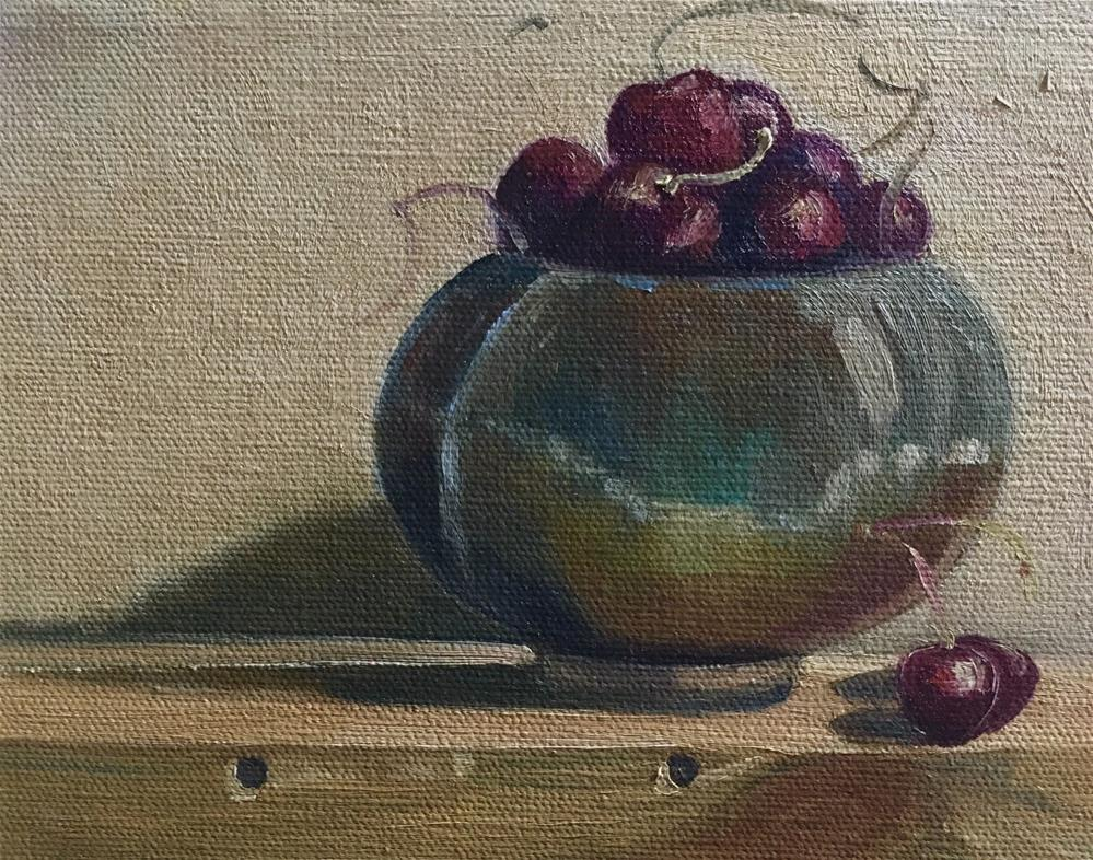 """Cherries and Bowl"" original fine art by Judith Anderson"