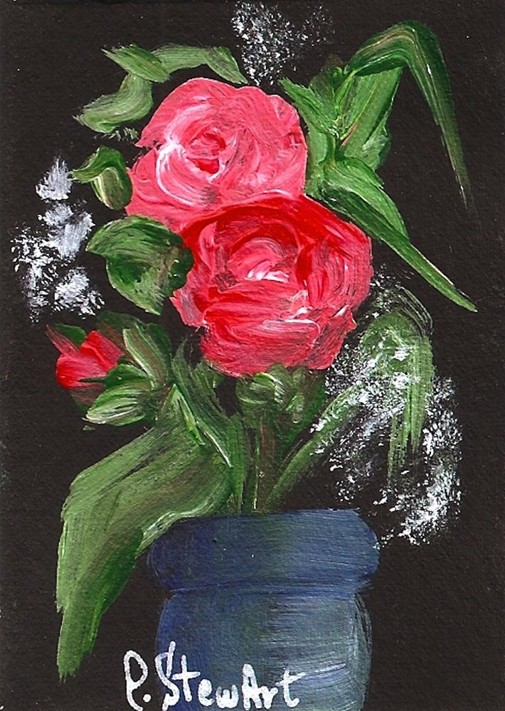 """""""ACEO, Red Roses on Black, in a Blue Vase, Acrylic on Gessoed background, Original"""" original fine art by Penny Lee StewArt"""