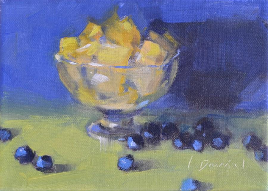 """""""Cut Pineapple - Twenty-six of 30 in 30"""" original fine art by Laurel Daniel"""