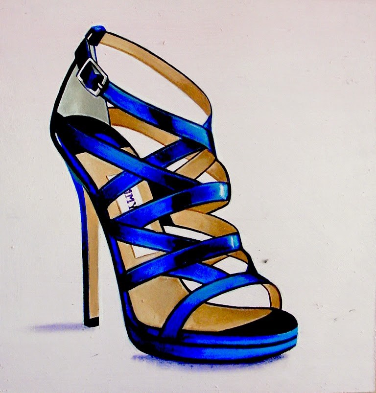 """Jimmy Choo 6- Still Life Painting Of Women Heels Blue Jimmy Choo Shoe"" original fine art by Gerard Boersma"