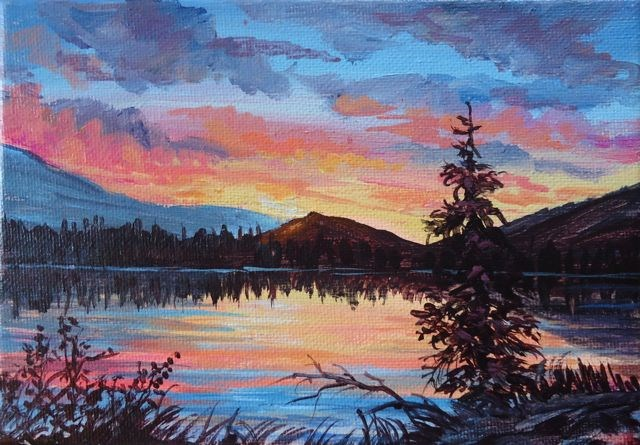 """Fox Lake Sunset"" original fine art by Jackie Irvine"