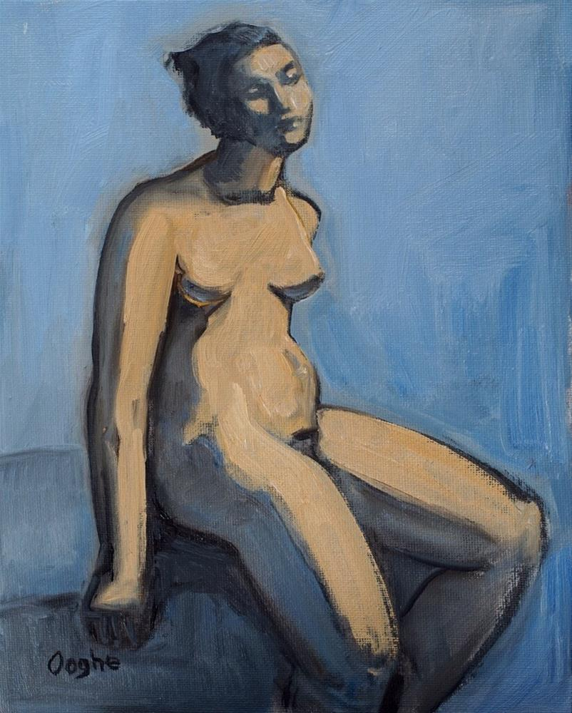 """Nude on pale blue"" original fine art by Angela Ooghe"
