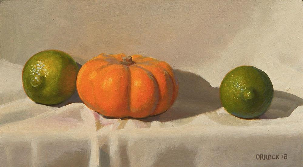 """Giant limes or mini pumpkin? "" original fine art by Peter Orrock"