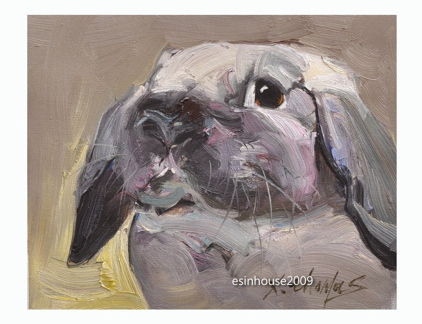 """8x10"" Animals Oil Painting Cony rabbit Art impressionism Artwork manuscript"" original fine art by Thomas Xie"